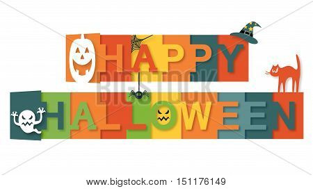Happy Halloween Text with web, spider, ghost, cat, pumpkin, witch hat