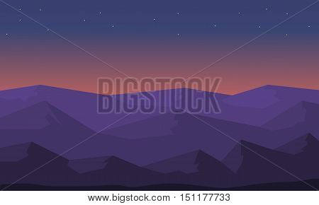 Beautiful landscape hill silhouette vector illustration collection
