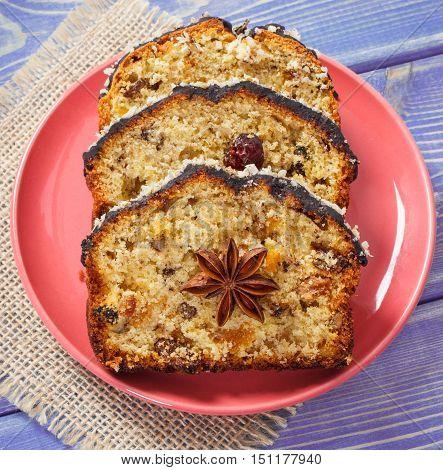 Fresh Baked Fruitcake On Plate On Boards