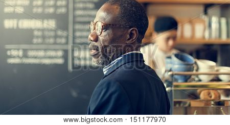 African Businessman Ordering Coffee Shop Concept