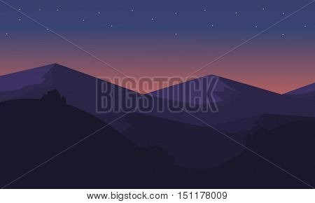 Silhouette of mountain at night vector illustration