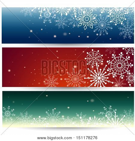 Vector illustration of Set of Web banners with snowflakes.