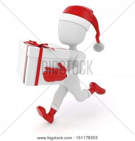 3d man with Christmas present box on white background