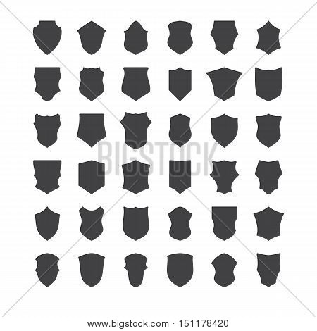 set of black heraldic shields vector icon collection