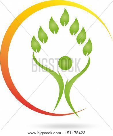 Sun, human and leaves, naturopaths or sports medicine logo