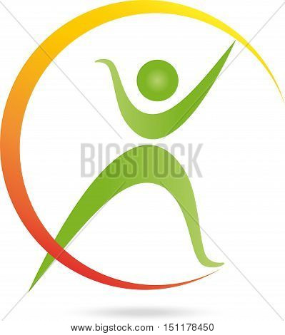 Human in movement, fitness, health and naturopathic logo