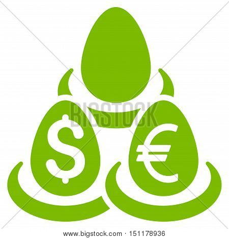 Currency Deposit Diversification icon. Glyph style is flat iconic symbol with rounded angles, eco green color, white background.