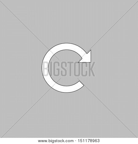 Rotation Arrow Simple line vector button. Thin line illustration icon. White outline symbol on grey background