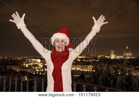 Woman In Christmas Hat At Piazzale Michelangelo Rejoicing