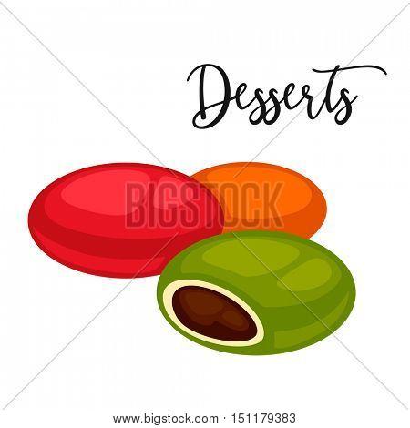 Delicious sweet dessert. Vector cartoon Illustration isolated.