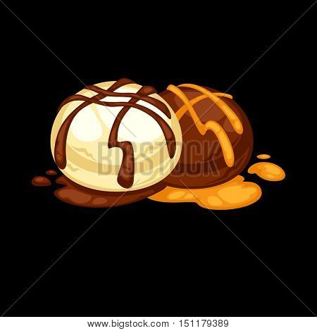 Delicious sweet dessert. Chocolate candy. Vector cartoon Illustration isolated.