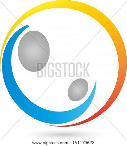 Two people, sun, pediatrician or midwife logo