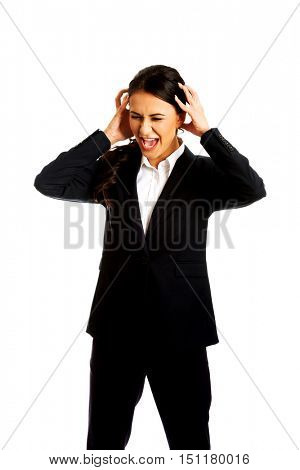 Angry businesswoman screaming