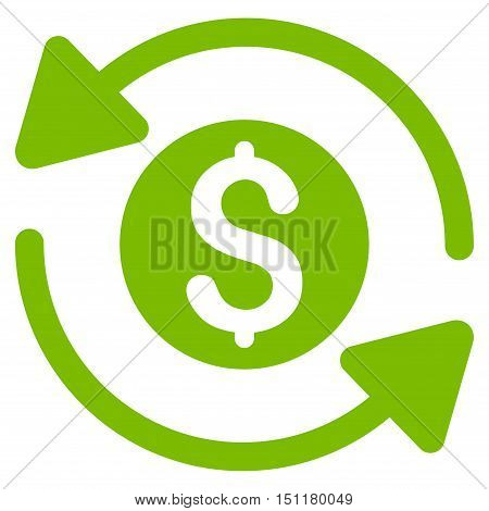 Money Turnover icon. Glyph style is flat iconic symbol with rounded angles eco green color white background.