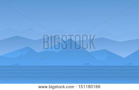 Silhouette of blue mountain landscape vector illustration