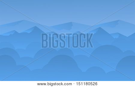 Silhouette of blue mountain and sky landscape illustration