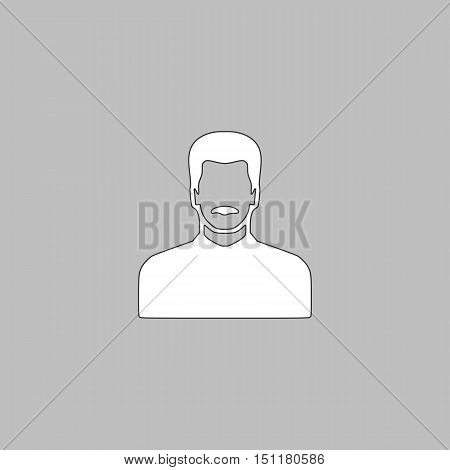 mustached man Simple line vector button. Thin line illustration icon. White outline symbol on grey background