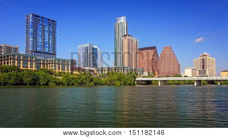 Downtown Austin Texas cityscape with the Colorado River in the foreground