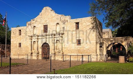 Exterior view of the historic Alamo in San Antonio Texas