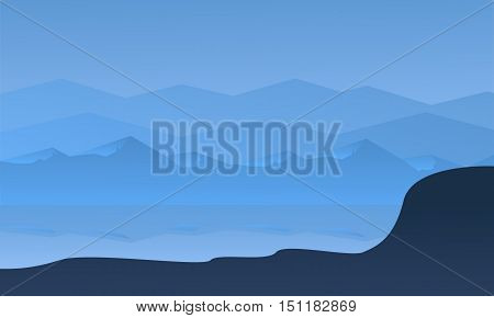 Silhouette of hill and river vector illustration