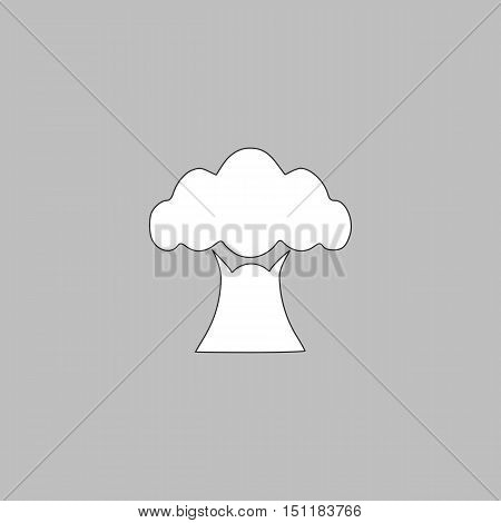Baobab Simple line vector button. Thin line illustration icon. White outline symbol on grey background