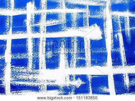 Blue white acrylic grunge background. Blue background of white intersecting brush strokes.