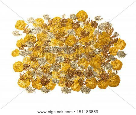 Spotted golden bronze acrylic background. Background of gold and bronze paint drops