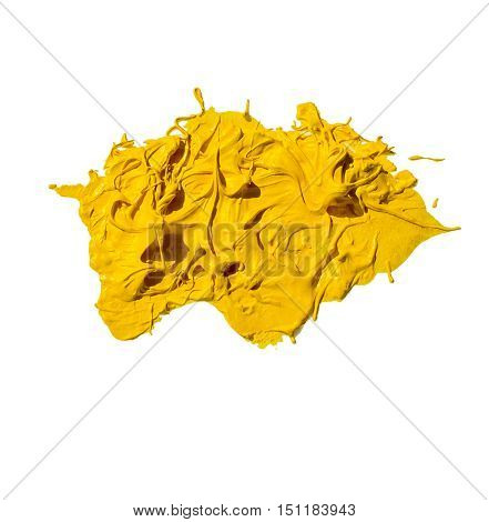 Yellow oil paint spot isolated on white background