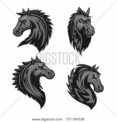 Horse head emblem with thorny prickly mane. Stylized heraldic icon of furious stallion for sport club, team badge, label, tattoo