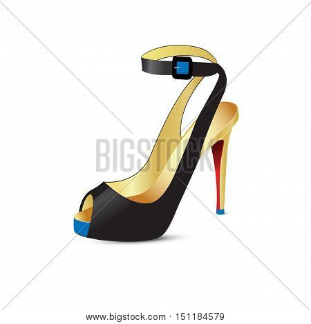 Beautiful shoes with high heels. Vector illustration