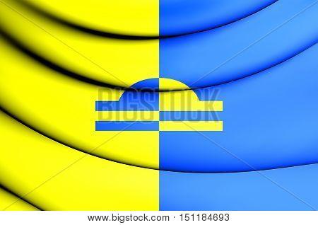 3D Flag Of Ede (gelderland), Netherlands. 3D Illustration.