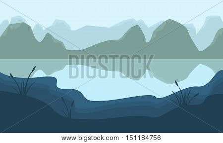 Scenery mountain and lake of silhouette illustration