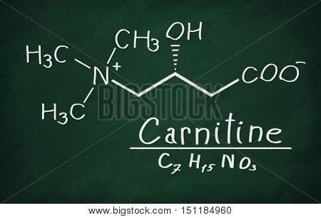 Structural model of Carnitine on the blackboard.