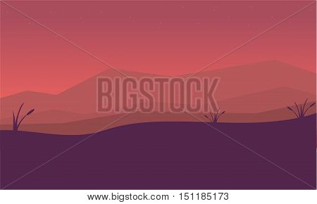 Silhouette of mountain and fog landscape vector illustration