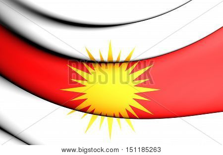 Yezidi Flag. 3D Illustration. Front View. Close Up.