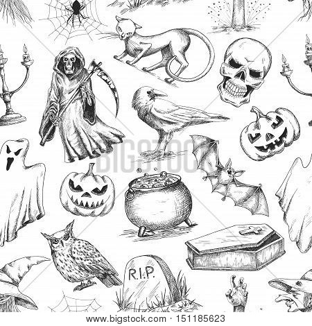 Halloween holiday pattern. Vector seamless pattern of halloween death reaper, spooky ghost, black cat, bat, skeleton skull, witch cauldron, coffin, tomb. Decoration background for halloween decoration design