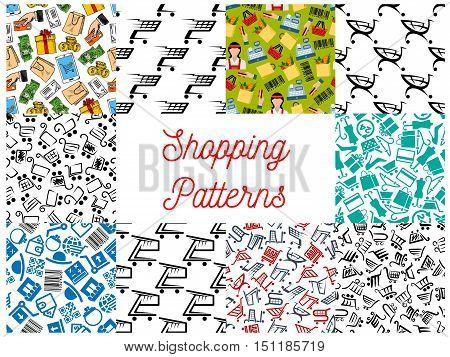 Shopping seamless pattern. Vector pattern of shopping basket, cash box, dollar banknotes, smartphone, money purse, credit card, gift, store, shopping paper bag, dress coin bar code