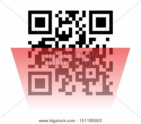 Vector illustration of Qr code sample with red laser scanner. Scanned Qr code reads