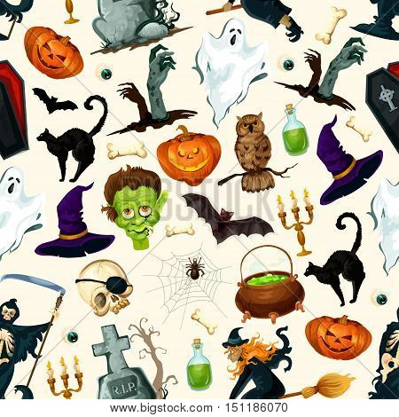 Halloween holiday cartoon horror seamless pattern. Vector design of scary halloween ghost, reaper, witch, pumpkin, spooky zombie. Decoration background for halloween celebration