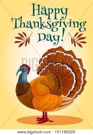 Thanksgiving day traditional turkey greeting card design. Vector turkey bird with text Happy Thanksgiving day on retro orange background