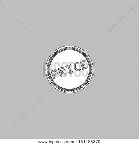 Price Simple line vector button. Thin line illustration icon. White outline symbol on grey background