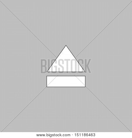 Eject Simple line vector button. Thin line illustration icon. White outline symbol on grey background