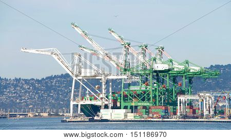 Oakland CA - October 07 2016: Ben Nutter Terminal at the Port of Oakland the fifth busiest port in the United States.