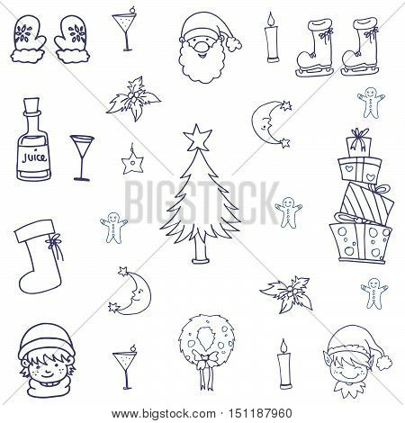 Object christmas doodle set vector art illustration