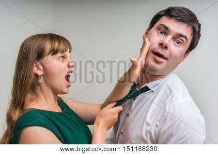 Angry Woman Giving A Slap - Domestic Violence Concept