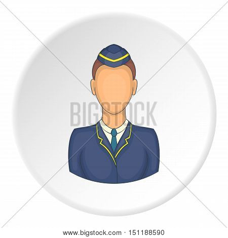 Woman train conductor icon. artoon illustration of woman train conductor vector icon for web