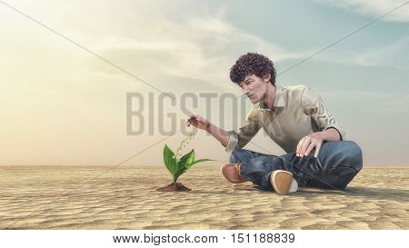 The birth of new life. Young man admiring plant growing out of sand. This is a 3d render illustration