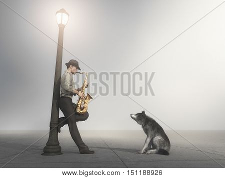 Man playing saxophone supported by a light pole while a dog listening to him in foggy night. This is a 3d render illustration