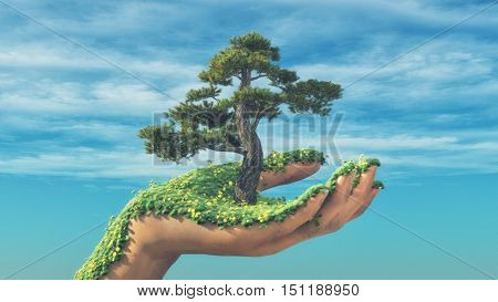 Hand holding a tree while is bloomed by grass and flowers. This is a 3d render illustration