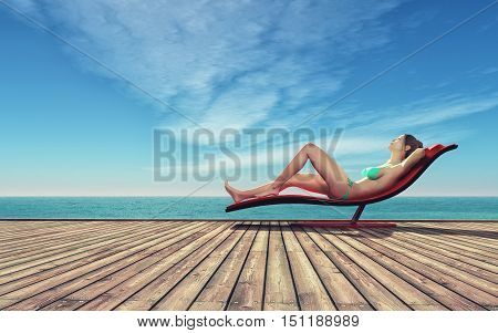 Young woman in a bathing suit on a sunbed at the seashore on a wooden pier. This is a 3d render illustration